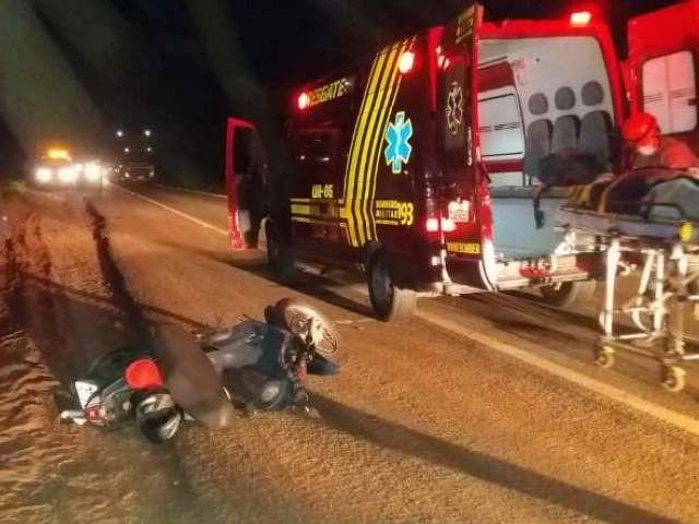 Ciclista morreu no hospital após ser atropelado na BR-158. (Foto: Divulgação/Corpo de Bombeiros)