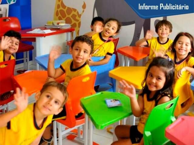 Sala de aula  cheia de criança feliz na Sossego da Mamãe. (Foto: Alcides Neto)