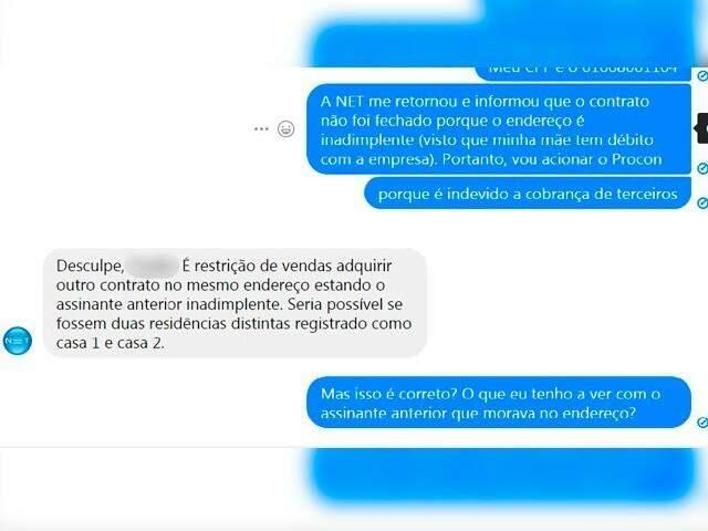 Diálogo da consumidora com a empresa de telefonia (Foto: Reprodução)