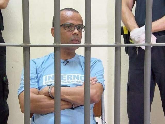 Imagem de Fernandinho Beira-Mar ainda preso em Mossoró. (Foto: Reprodução TV Record)