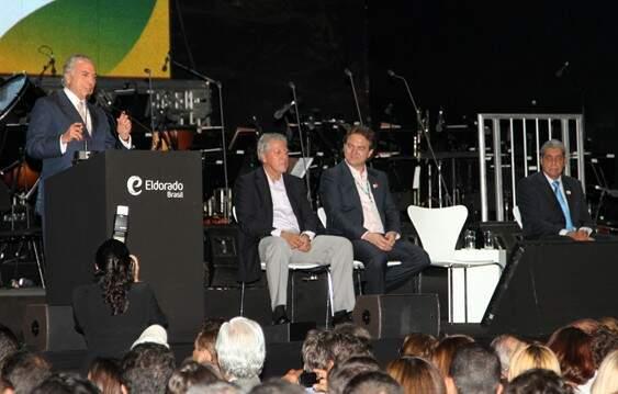 Michel Temer, em discurso durante inauguração da empresa. (Foto: Rachid Waqued/ Divulgação)