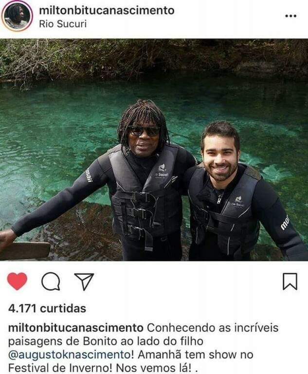 Milton Nascimento postou no Instagram opasseio que fez com o filho, em Bonito. (Foto: Reprodução/Instagram)