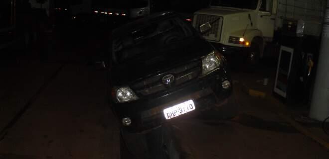 Condutor não observou a valeta no pátio do posto. (Foto: Divulgação/PRF)