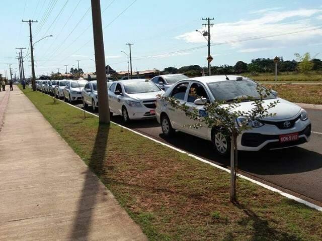 Parte da frota está parada em solidariedade aos caminhoneiros (Foto: Direto das Ruas)
