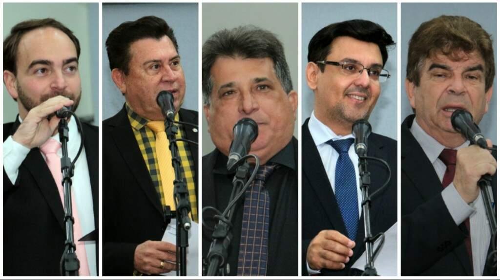 João César Mattogrosso (PSDB), Valdir Gomes (PP), Ademir Santana (PDT), Hederson Fritz (PSD) e Francisco Gonçalves (PSB) integram a comissão representativa do Legislativo (Foto: Divulgação/CMCG)