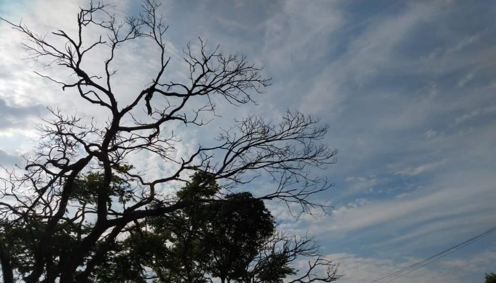 Dia amanheceu parcialmente nublado em Campo Grande (Foto: Kisie Ainoã)