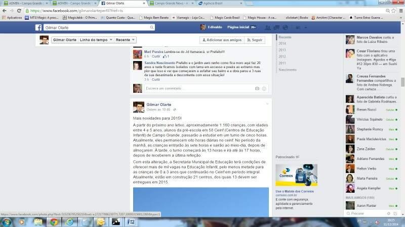 Postagem no Facebook mostra comentário do prefeito sobre redução de tempo nas creches