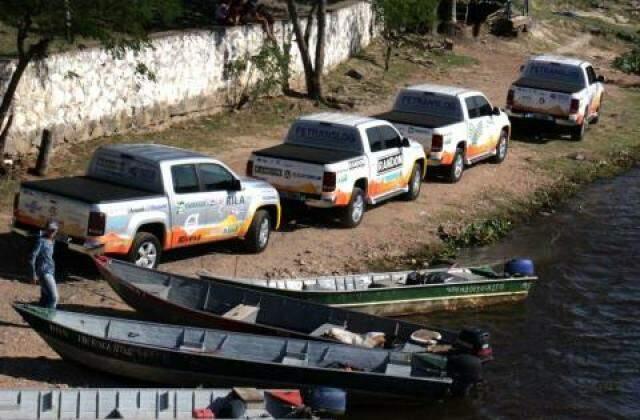 Expedição brasileira à margem do rio Paraguai, em Porto Murtinho (Foto: Governo de MS/Chico Ribeiro)