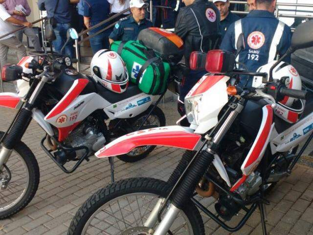 Duas motocicletas que serão usadas em atendimento. (Foto: Mayara Bueno).