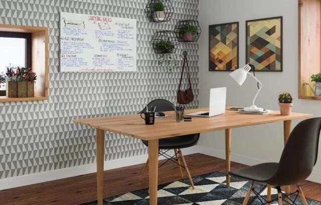 São muitas as opções de papéis de parede, pisos laminados e decoração. (Foto: Site Leroy Merlin)