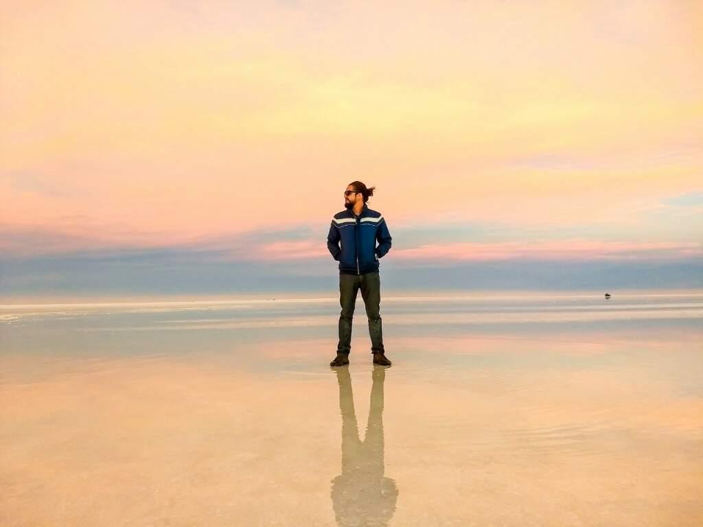 Juliano no deserto de sal. (Foto: Arquivo Pessoal)