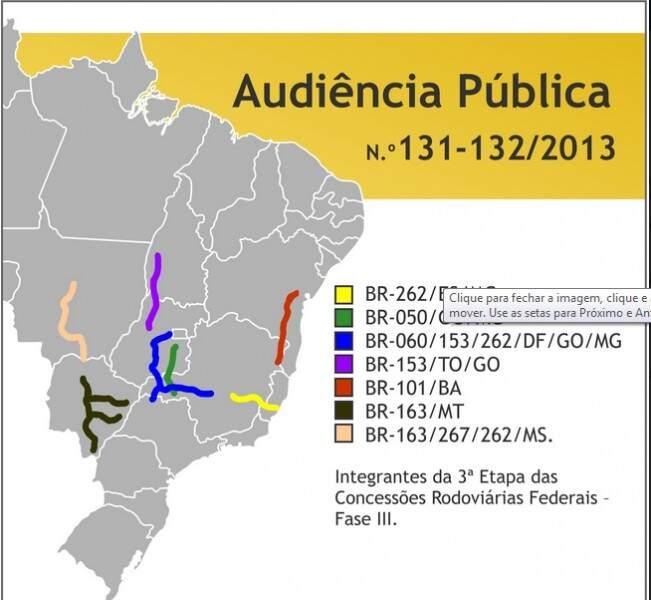 Mapa traz marcação errada de trechos da BR-163 que devem ser privatizados em MT e MS. (Foto: reprodução site da ANTT)