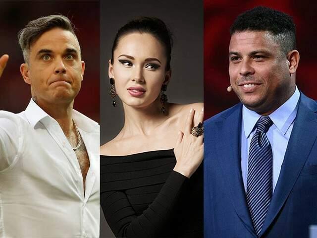 Robbie Williams, Aida Garifullina e Ronaldo estarão na festa de abertura (Foto: Reprodução)