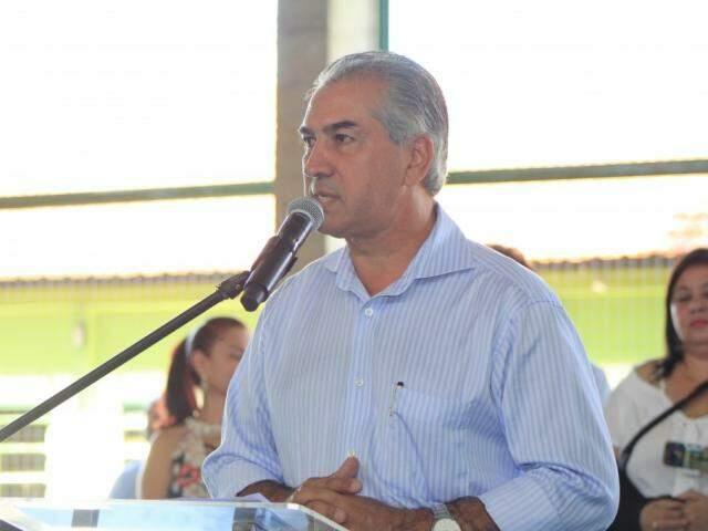 Governador do Estado, Reinaldo Azambuja, dem discurso. (Foto: Marina Pacheco).