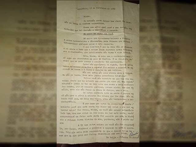 """Carta foi feita na máquina de escrever, em 1980 e fala muito sobre o amor que Cláudio sentia pela prima """"Minha""""."""
