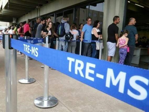 Fila no TRE-MS (Foto: TRE-MS/Divulgação)