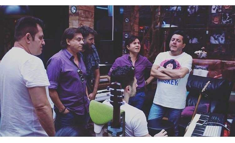 Foto dos bastidores da gravação do novo DVD das duplas (Foto: Divulgação/Bruno e Marrone)