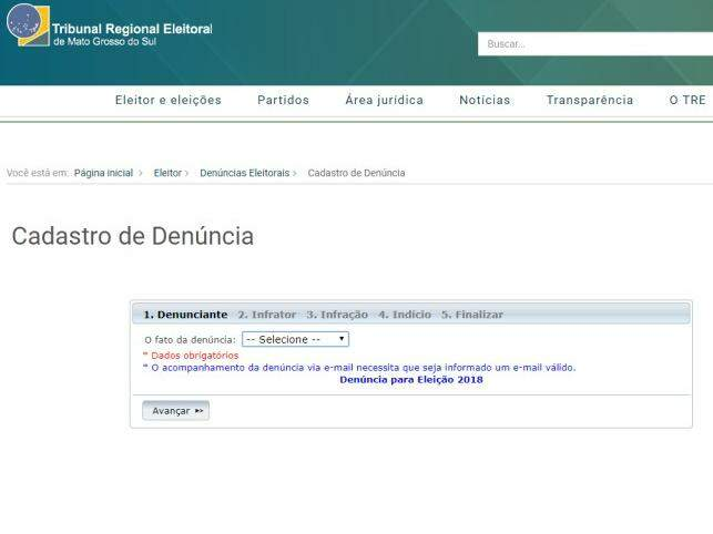 Página para cadastrar denúncias de crimes eleitorais no site do Tribunal Regional Eleitoral de Mato Grosso do Sul (Foto: TRE-MS)