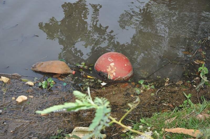 Até capacete aparece no lago (Foto: Marcelo Calazans)