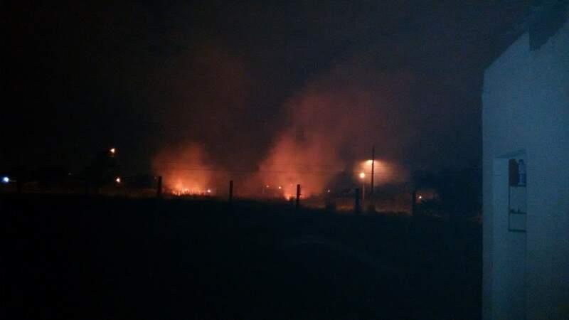 Incêndio atinge canteiro de avenida do Nova Campo Grande. (Foto: Direto das Ruas)