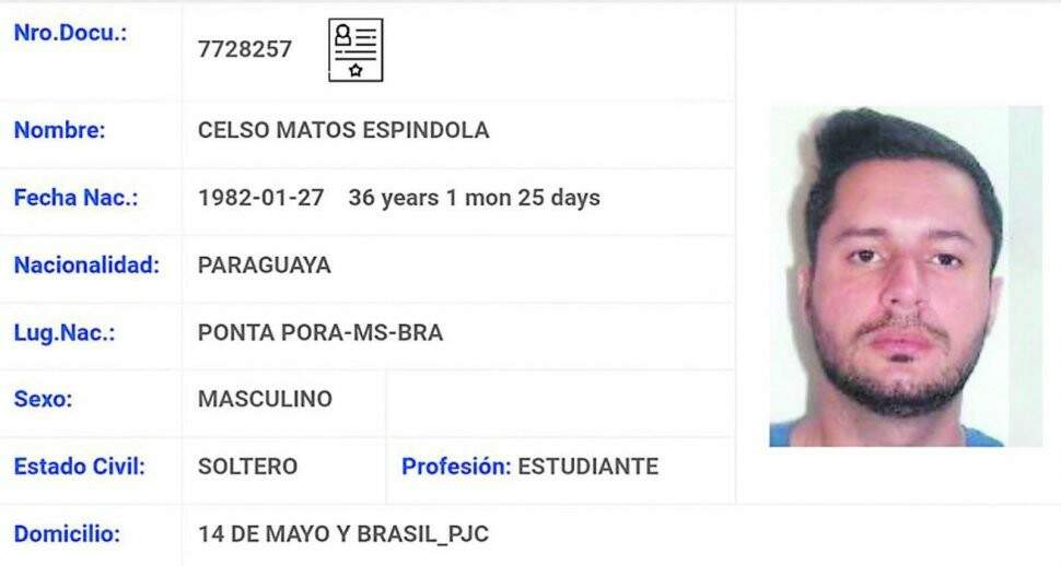 Identidade falsa usada por Minotauro em território paraguaio (Foto: Arquivo)