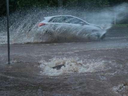 Chuva transforma rua em rio no Jardim São Lourenço