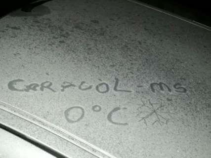 Sensação térmica chega a -16°C e geada atinge 15 cidades de MS