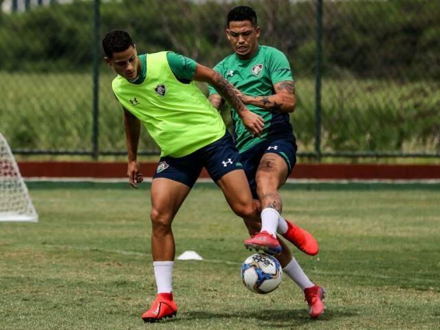 Treino do elenco tricolor para o jogo de hoje (Foto: Fluminense/Divulgação)