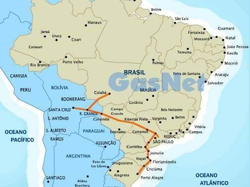 Gasbol sai da Bolívia, entra no Brasil por MS e distribui gás para o país. (Foto: Gasnet)