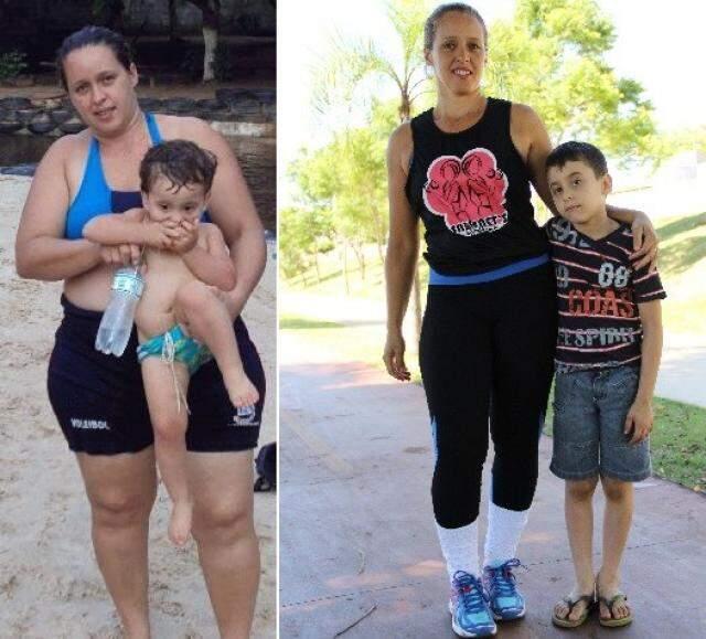 Na companhia do filho, Marta, antes com 105 kg e, agora, com 72. (Foto: Arquivo Pessoal/Marcos Ermínio)