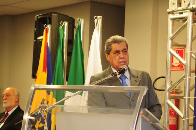 Governador de Mato Grosso do Sul, André Puccinelli, durante abertura do evento. (Foto: Rodrigo Pazinato)