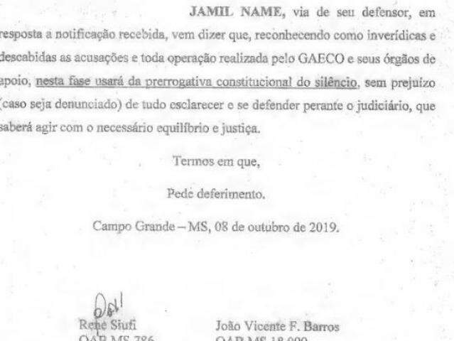 Documento protocolado pela defesa de Jamil Name à ação. (Foto: Reprodução do processo)