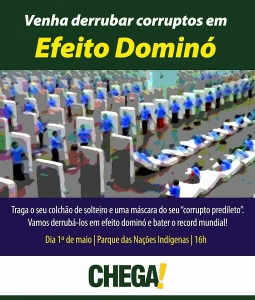 Protesto do Chega de Impostos quer recorde em efeito dominó contra a corrupção (Foto: Reprodução / Facebook)