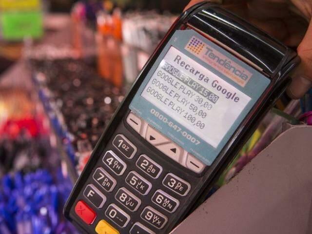 Máquina de crédito pré-pago para celular agora faz operação de recarga para a loja de aplicativo do Google. (Foto: Divulgação/Google)