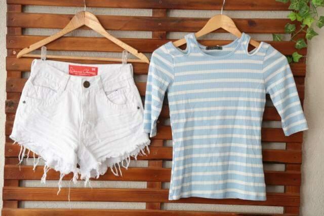 Look completo, super verão, agora custa só R$ 50,00. São R$ 40,00 pelo shorts e R$ 10,00 pela blusinha.