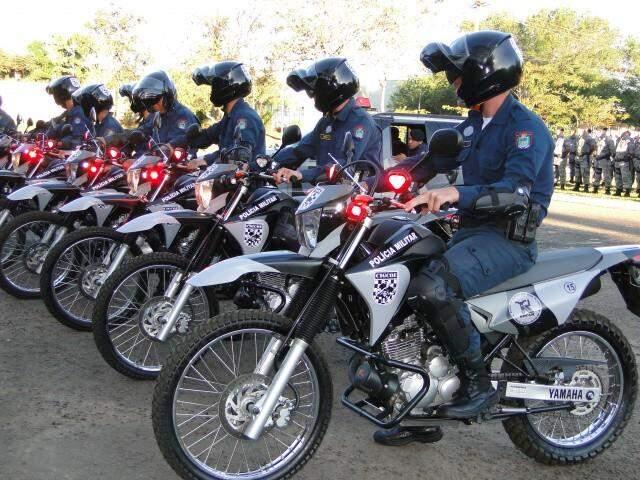 Efetivo do Rocam (Rondas Ostensivas com Apoio de Motos) em 2012, quando o grupamento foi criado (Foto: Governo do Estado/Divulgação)