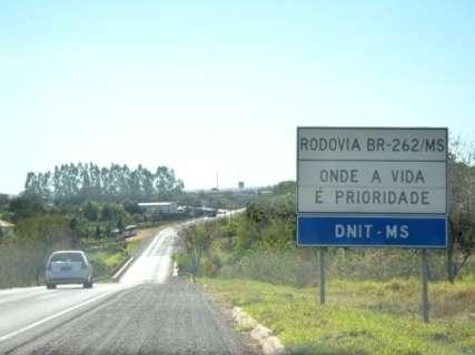 União autoriza recuperação de 190 km da BR-262 entre Três Lagoas e Ribas