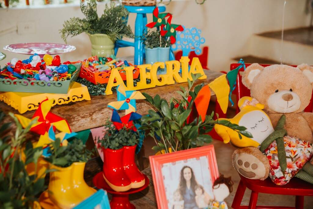 Muitas cores marcaram a festinha de aniversário. (Foto: Paula Cayres)