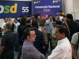 Lideranças do PSD durante reunião partidária que ocorre em São Paulo neste sábado. (Foto: Divulgação).