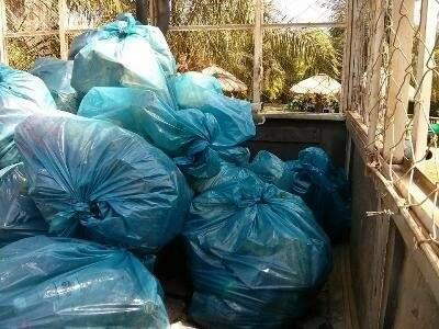 Ao todo, 10 sacos de lixo foram retirados do rio e também do córrego. (Foto: Bonito Informa)