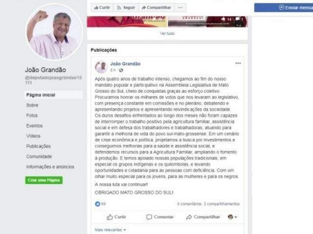 João Grandão também fez balanço sobre seus trabalhos na Assembleia. (Foto: Facebook/Reprodução)