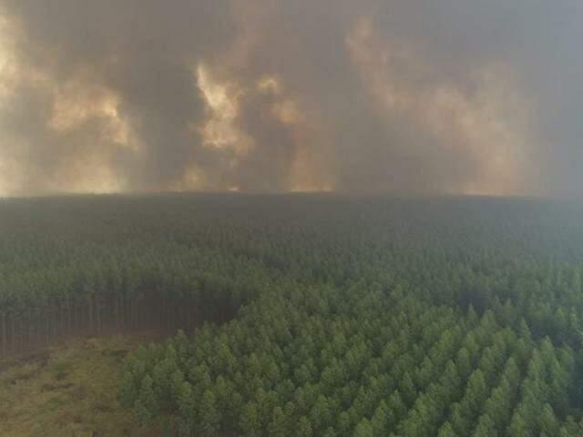 Fumaça de incêndio ocorrido em área de Ribas do Rio Pardo no ano passado (Foto: Arquivo)