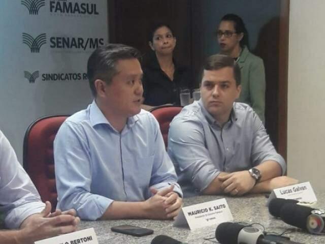Maurício Saito, presidente da Famasul, durante divulgação dos números do setor (Foto: Izabela Sanchez)