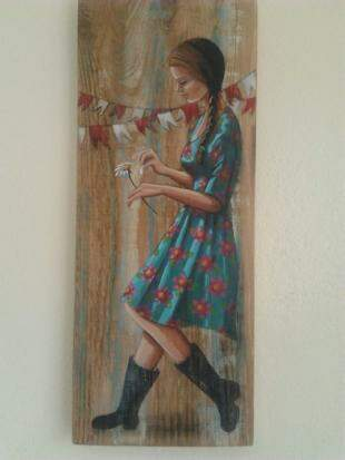 Menina da roça, trabalho da série de Hyali em madeira. (Foto: Arquivo Pessoal)