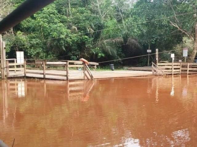 Balneário de Jardim exibe Rio da Prata cheio de lama após chuva. (Foto: Divulgação)