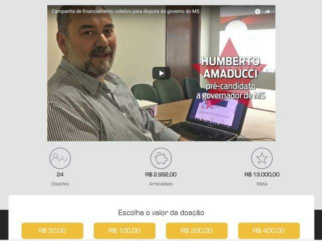 Amaducci estabeleceu meta de R$ 13 mil para arrecadação. (Imagem: Reprodução)