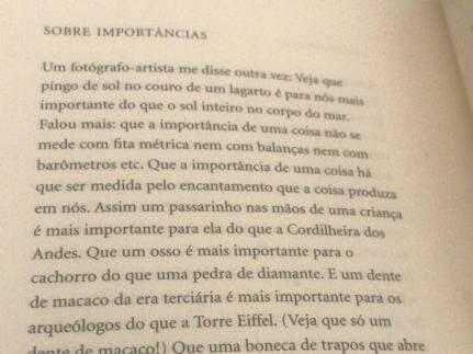 """No livro de Manoel, trecho de """"Sobre Importâncias"""", detalhes de Xote um dia falou ao poeta. (Foto: Arquivo Pessoal)"""