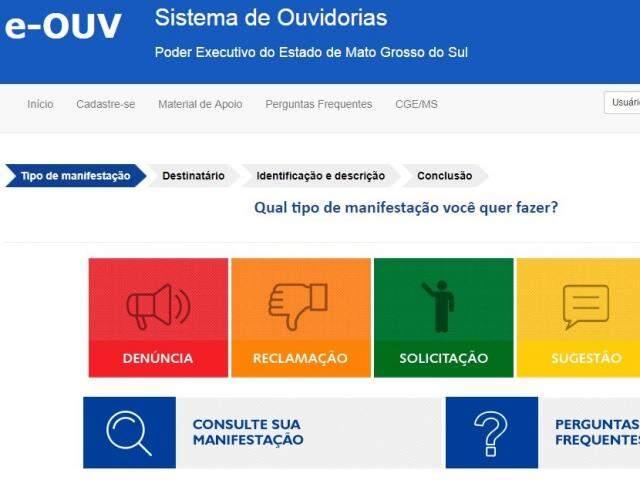Layout da plataforma e-OUV (Foto: reprodução)