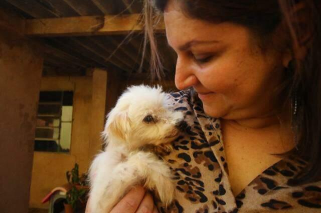 Athena hoje também cuida de alguns cães dentro de casa. (Foto: André Bittar)