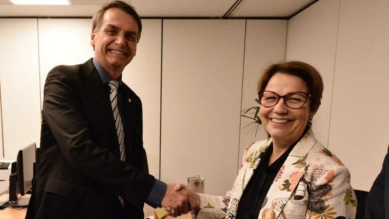 Presidente Jair Bolsonaro com a ministra da Agricultura, Tereza Cristina (Foto: Divulgação/Rafael Carvalho/Equipe de transição)